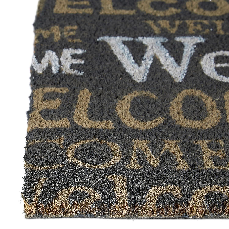 """Felpudo /""""Welcome/"""" para la entrada de su hogar hecho de fibras de coco y PVC con medidas 40 x 60 cm antideslizante elemento decorativo color marr/ón oscuro Relaxdays"""
