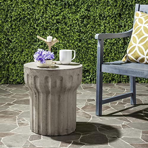 Safavieh Outdoor Collection Vesta Modern Concrete Dark Grey Round 15.3-inch Accent Table