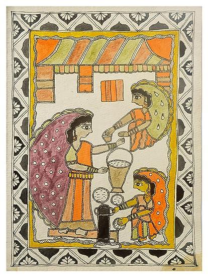 Ashok Kumar Handmade Paper Shiv Puja Madhubani Painting (96