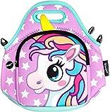 FRINGOO® Kids Lunch Bag Neoprene Children Thermal Insulated Tote Bag Shoulder Strap Zipped Pocket Cooler Snack Picnic Nursery School Cute (Unicorn Purple Stars - Lunch Bag)