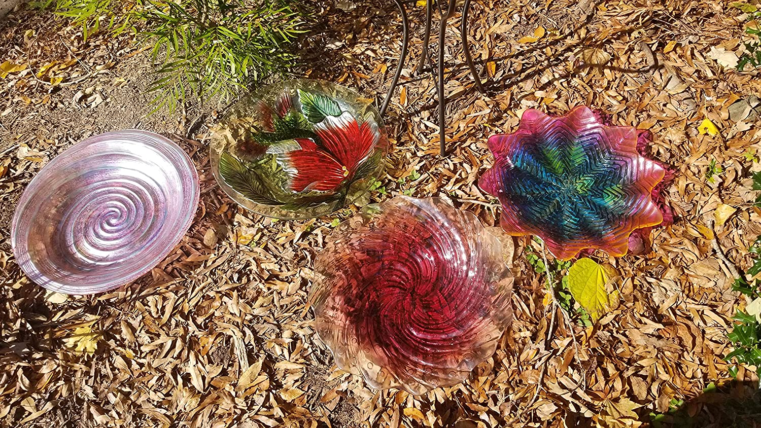 Bird Bath Grateful Gnome Hand Painted Glass Purple Sunrise Includes A Free Solar Fountain 18 inch Bird Bath with 22 inch Tall Metal Stand