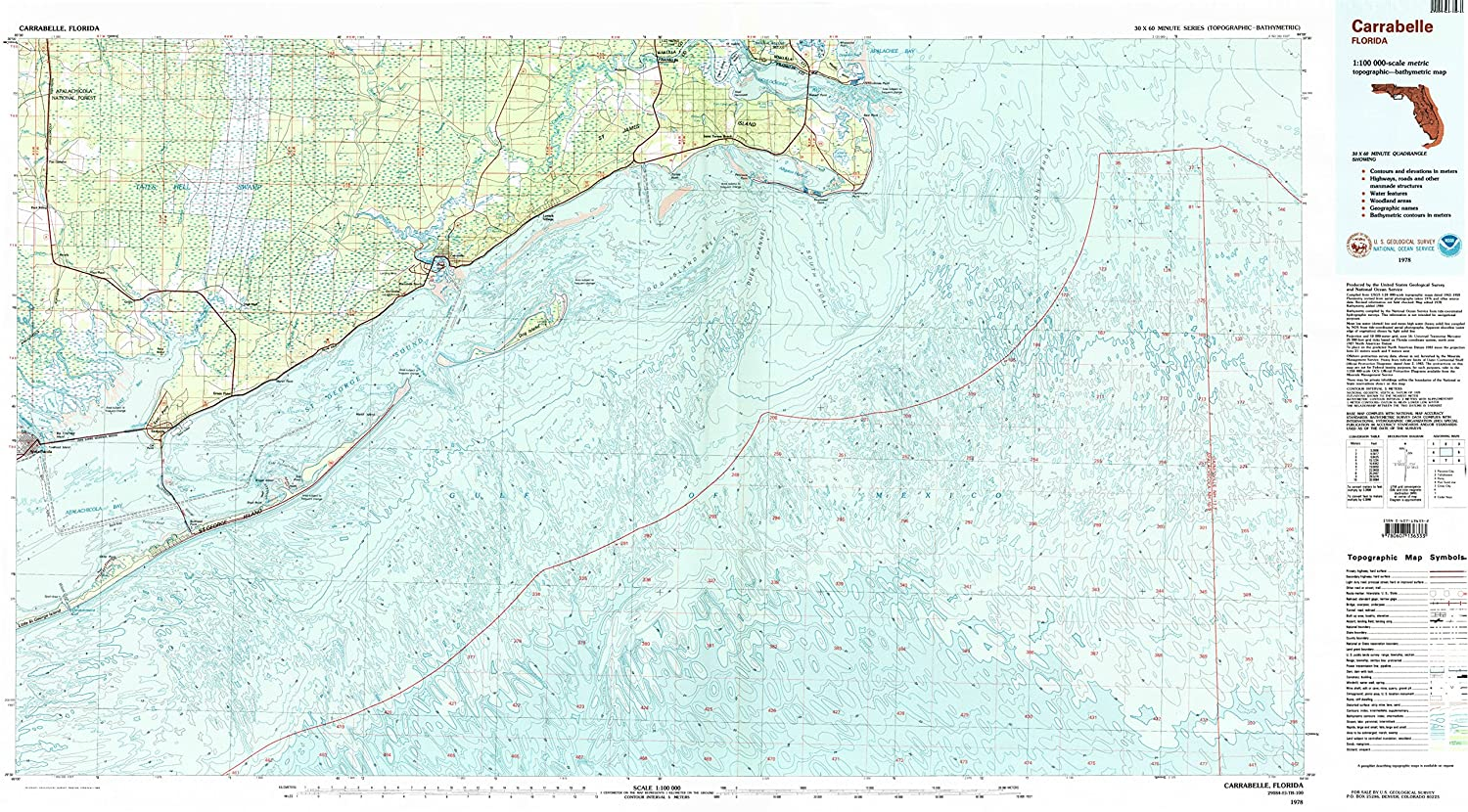 Topographical Map Of Florida.Amazon Com Yellowmaps Carrabelle Fl Topo Map 1 100000 Scale 30 X