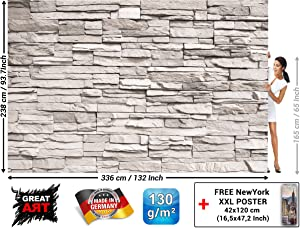 Wall Mural – White Stonewall – Decoration Stones Design Mural Real Stone Optic Poster Rustic Style Industrial Design Wallpaper Brick Home Decor ((132.3 x 93.7 Inch / 336 x 238 cm)