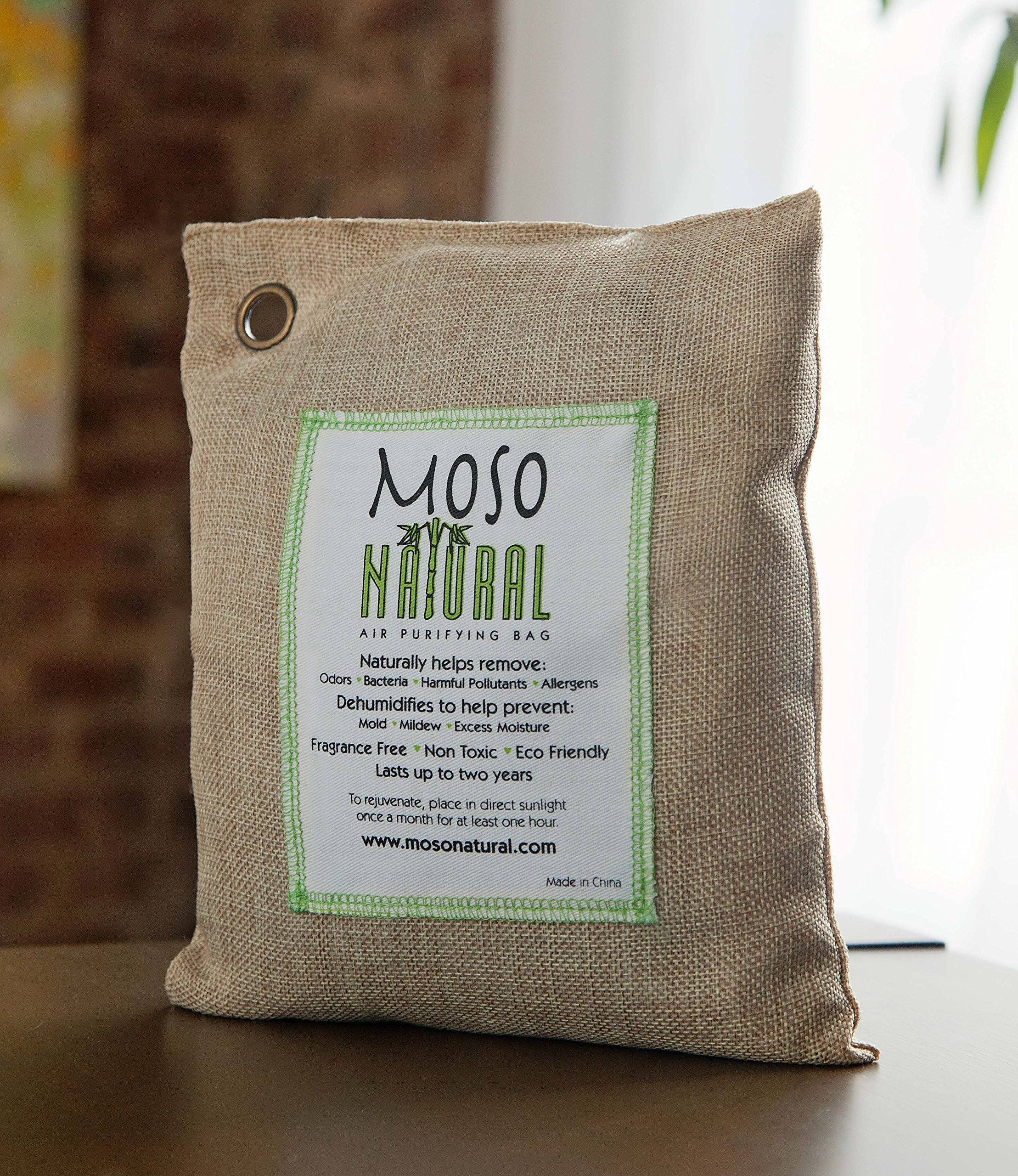 Moso Natural 200g and 500g Air Purifying Bag Deodorizers. Odor Eliminator for Cars, Closets, Bathrooms and Pet Areas. Absorbs and Eliminates Odors Natural Color