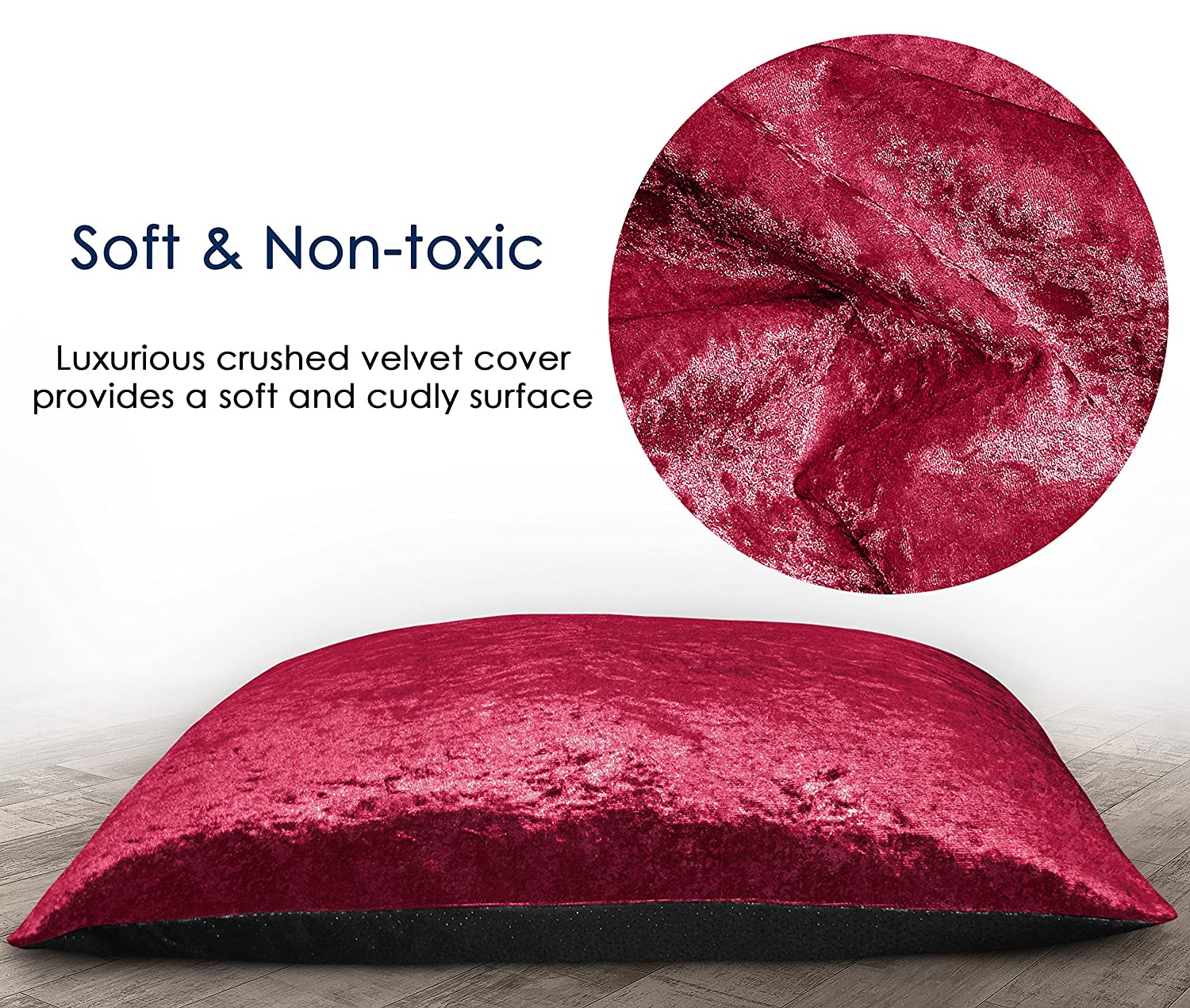 Extra Large , Red AmigoZone LARGE /& Extra Large Crushed Valvet Dog Bed Washable Zipped COVER ONLY Cover Only