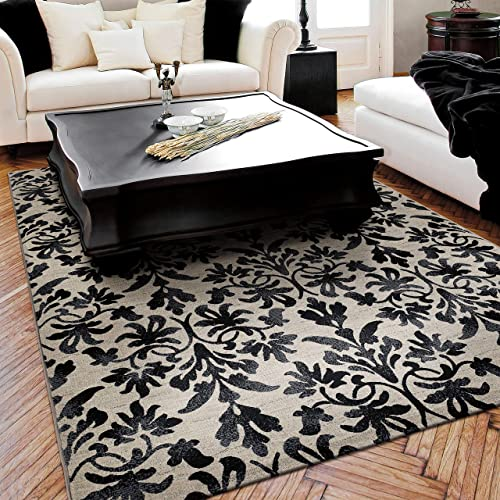 Couristan 6316 6333 Everest Retro Damask Area Rugs, 9-Feet 2-Inch by 12-Feet 5-Inch, Grey