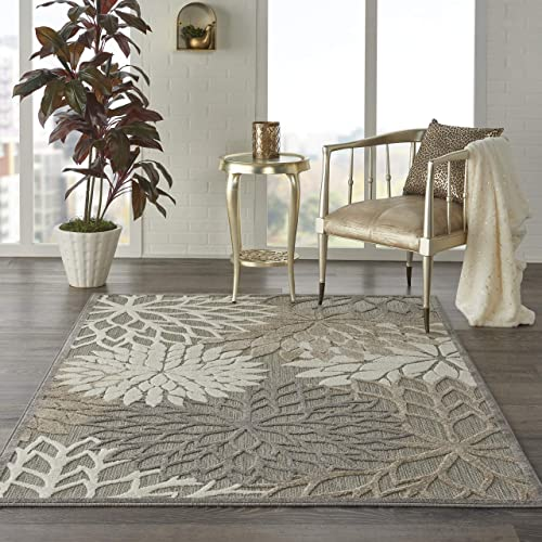 Nourison Aloha Indoor Outdoor Floral Natural Area Rug 6 x 9 , 6 X9 ,