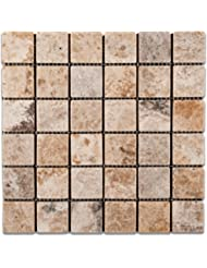 Andean Cream Peruvian Travertine 2 X 2 Tumbled Mosaic Tile - Box of 5 Sheets