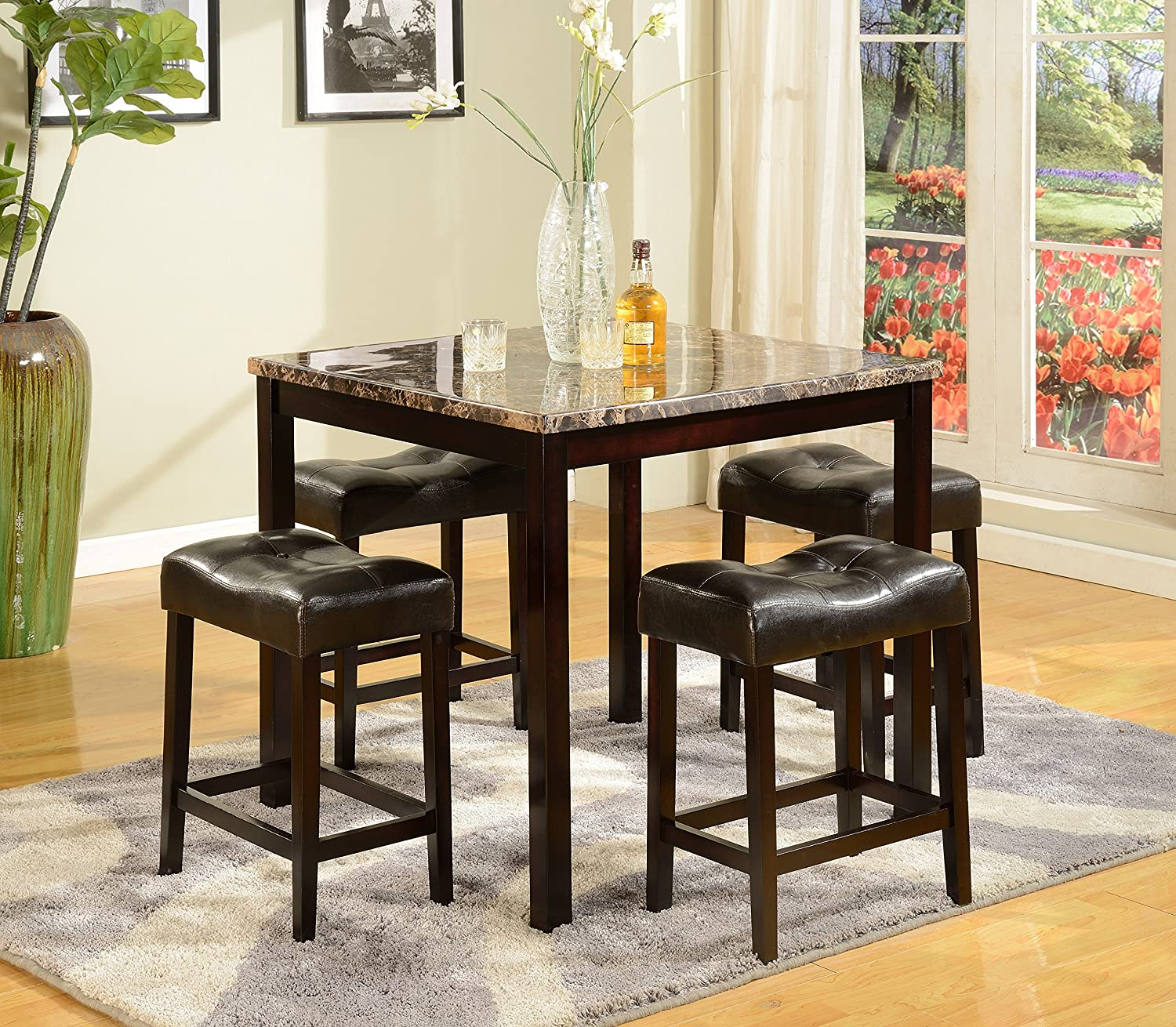 Amazon Crown Mark Kinsey 5 Piece Counter Height Table Stool Kitchen Dining