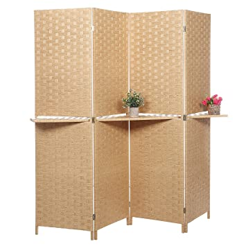 Amazoncom Freestanding Bamboo 4 Panel Partition Room Divider with