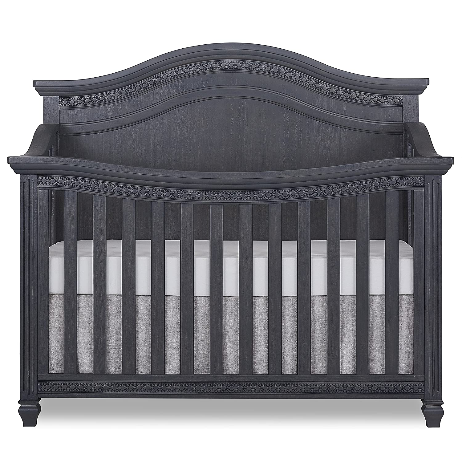 Evolur Madison 5, 1 Curved Top Convertible Crib, Weathered Grey