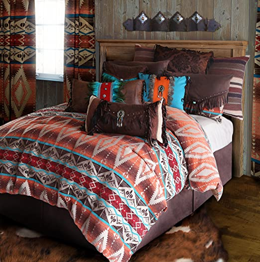 Amazon Com Carstens Rustic Western Southwestern Comforter Set Brown Turquoise Red And Orange 5pc Mojave Sunset King R4l6102 5 Home Kitchen