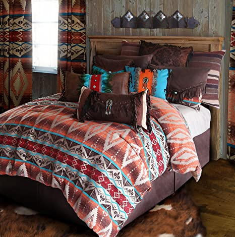 Rustic Western Southwestern Comforter Set Brown Turquoise Red and Orange  5PC Mojave Sunset (King) R4L6102-5