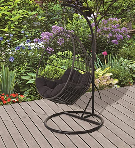 E-Stores Direct Rattan Hanging Swing Chair with Stand