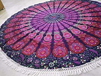 Hippie Mandala Cotton Yoga Mat Ethnic Indian Handmade Throw Bohemian Roundie