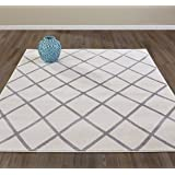 "Diagona Designs Contemporary Moroccan Trellis Design Area Rug, 63"" W x 87"" L, Ivory/Gray"
