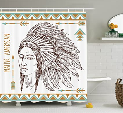 Ambesonne Native American Shower Curtain Traditional Tribal Man Portrait Ethnic Illustration Print Fabric