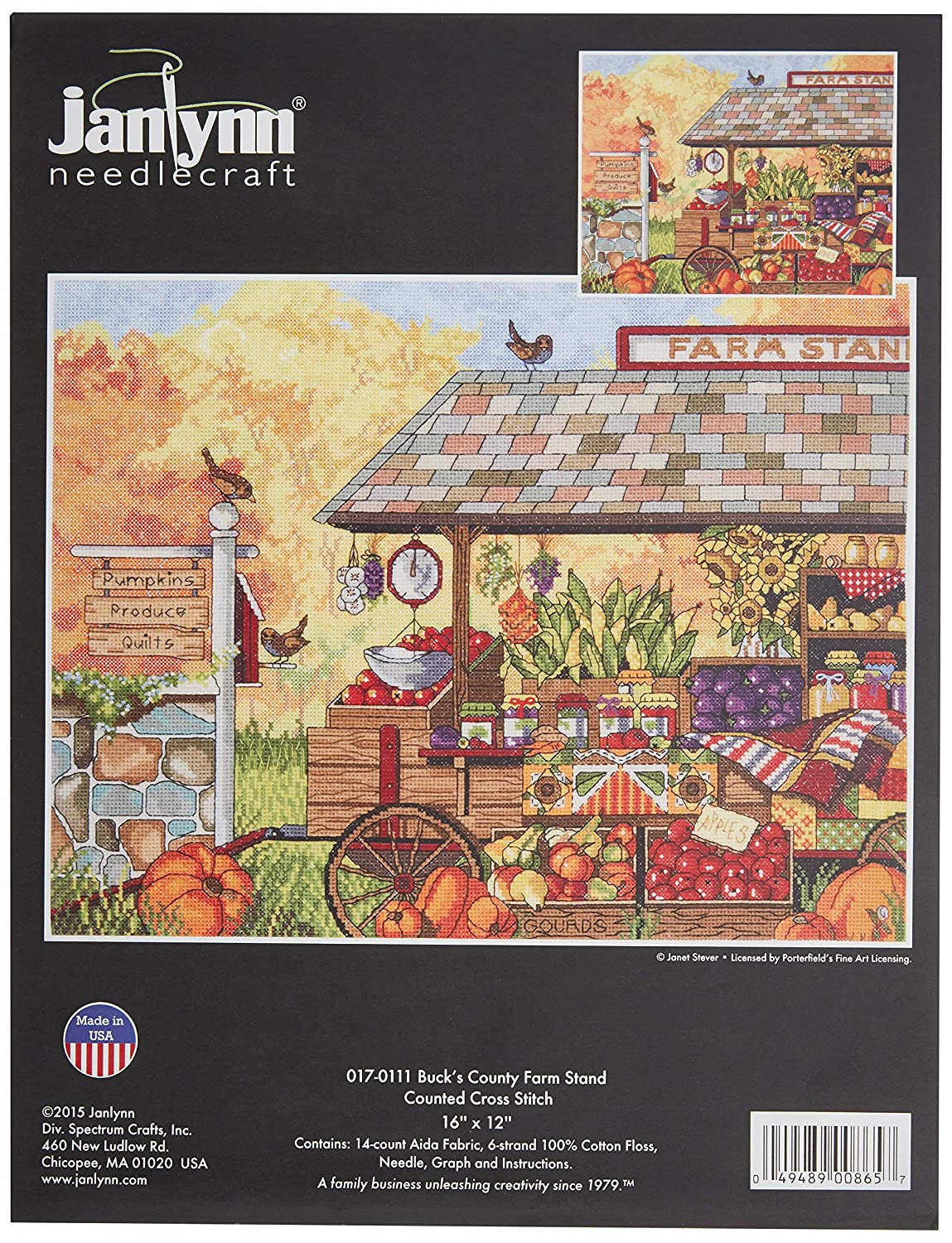 Janlynn 017-0111 Bucks County Farm Stand Counted Cross Stitch Kit 16 x 12