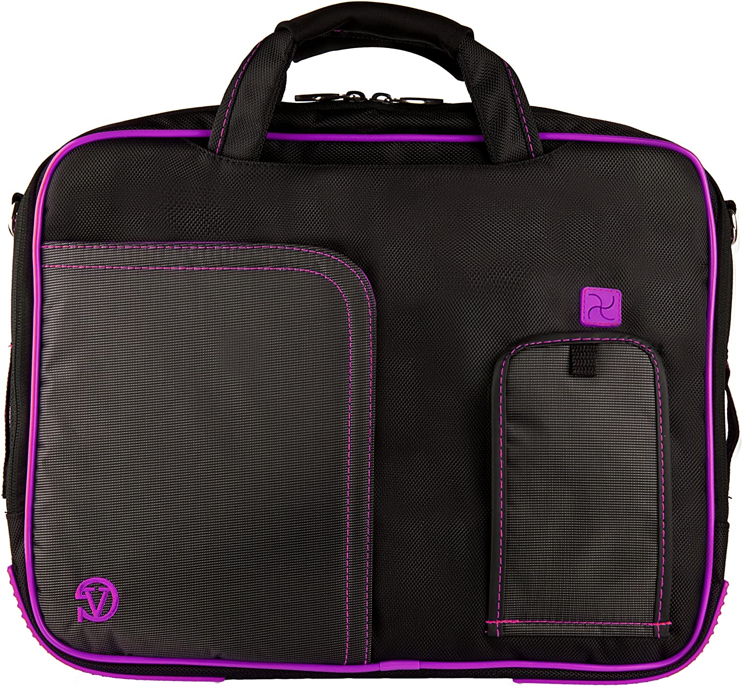 Purple VG Pindar Edition Durable Messenger Shoulder Bag Case for HP 15.6 inch Laptop Models HP 650, HP 635, HP 630, 6570b, 4545s, 4540s, 6565b, 6560b, 4530s, 4535s, 8570p, 8560p, 8560w and Wristband