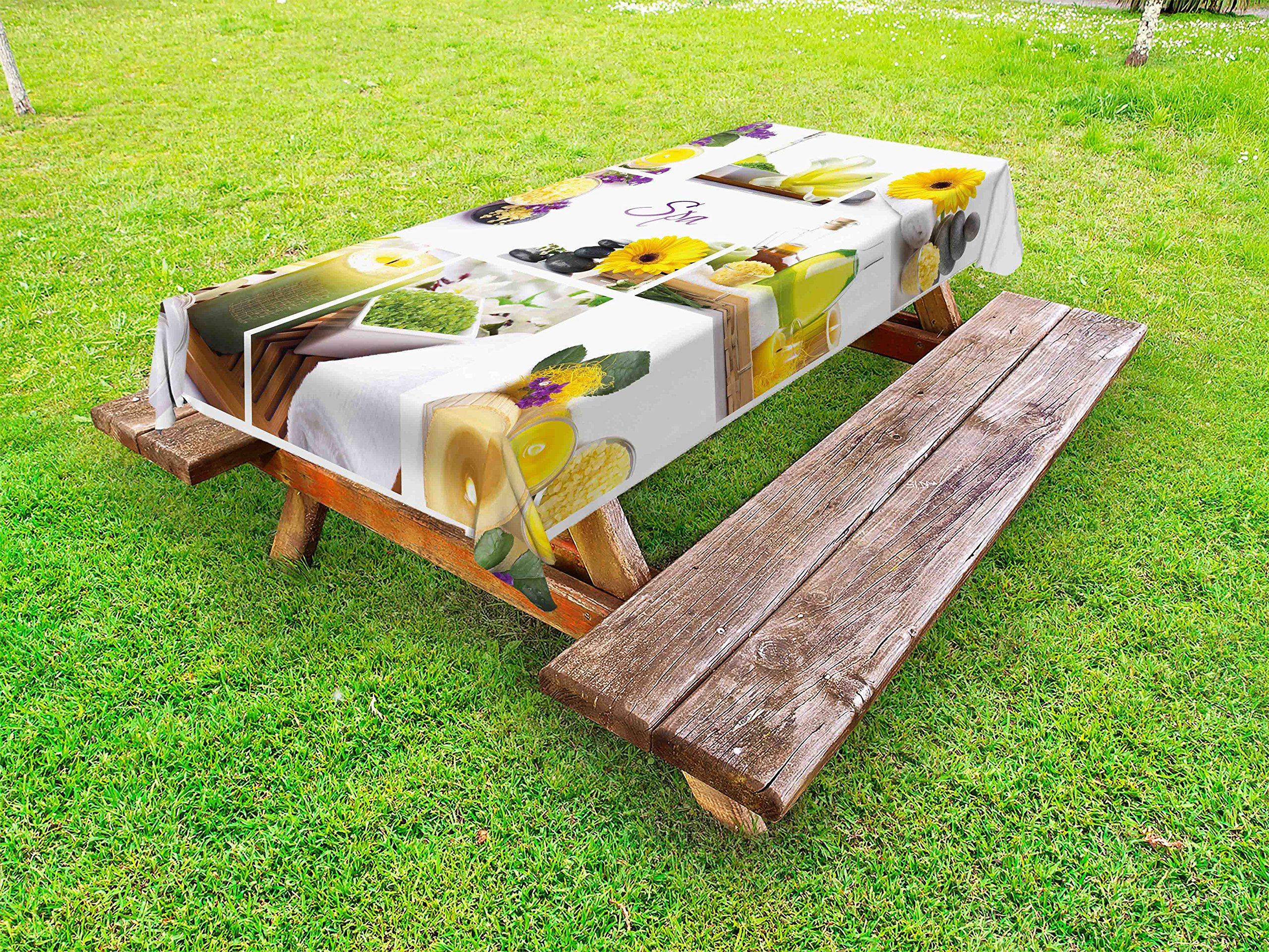 Ambesonne Spa Outdoor Tablecloth, Yellow Happy Peaceful Spa Day with Flowers Candles and Herbal Oils Art, Decorative Washable Picnic Table Cloth, 58 X 84 inches, Yellow Purple and White