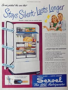 Servel Gas Refrigerator, 40's Print Ad. Full Page Color Illustration (silent..no moving parts) Rare, Original Vintage 1947 The Saturday Evening Post Magazine Art