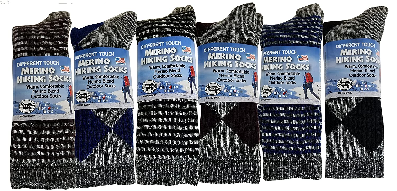 f4b7bbf5a4af8 Amazon.com: 6 Pairs Pack Men's 71% Merino Wool Hiking Boot Socks 10-13:  Clothing