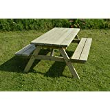 Rutland County Garden Furniture EXTRA CHUNKY PICNIC TABLE - PUB STYLE BENCH - 6FT - GREEN - VERY HEAVY DUTY - HAND MADE IN THE UK - PRESSURE TREATED!!