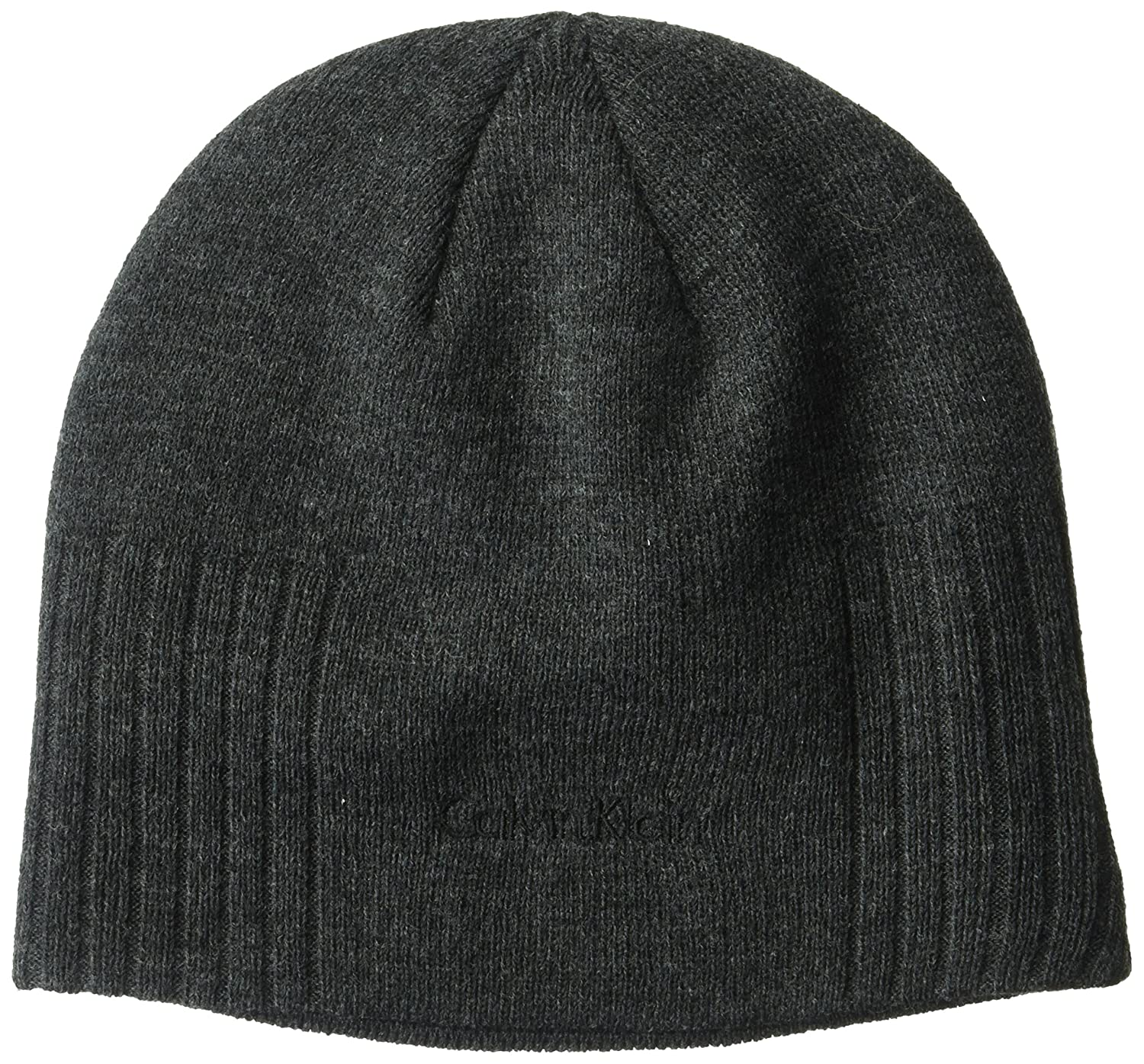 Calvin Klein Unisex New Rib Beanie Winter Hat, Charcoal, One Size HCKHT214
