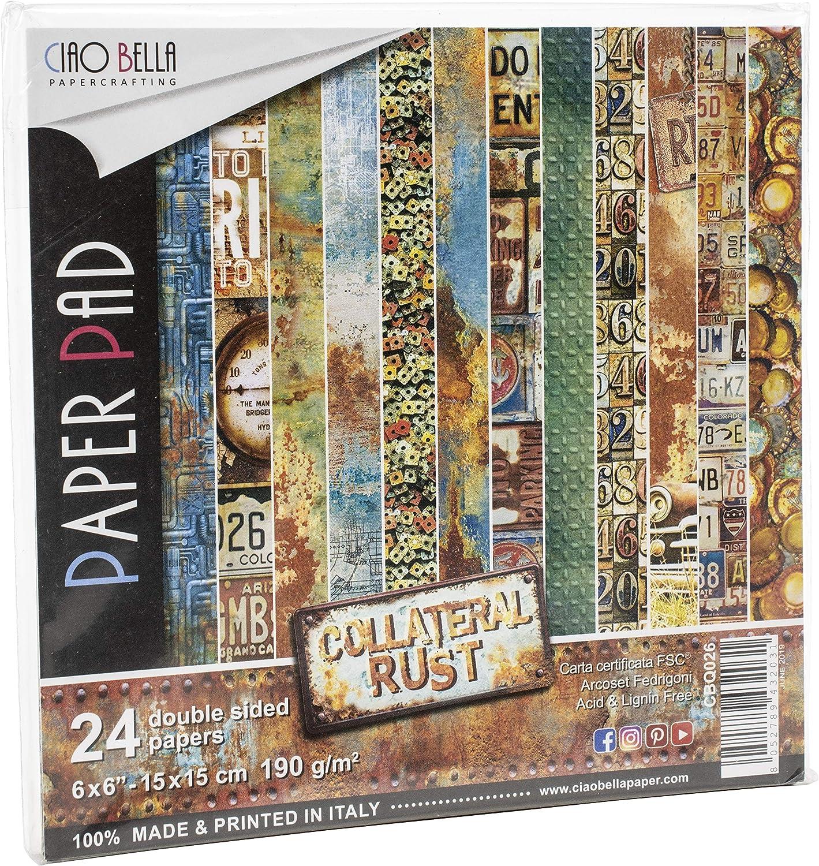 CIAO BELLA PAPER Rust 6X6 24//PK Ruggine collaterale taglia unica 12 Disegni//2 ciascuno