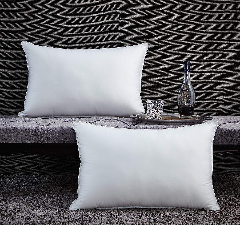 Luxurious Premium Goose Down Pillow - 1200 Thread Count Egyptian Cotton, Medium Firm, King Size, White Color