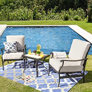 LOKATSE HOME 3 Pcs Outdoor Conversation Furniture Patio Bistro Set Modern Metal Chair with Cushion & Square Coffee Table, Beige