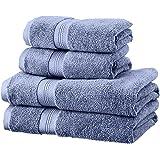 Pinzon - Set di asciugamani in cotone Pima (2 teli bagno + 2 asciugamani), blu royal