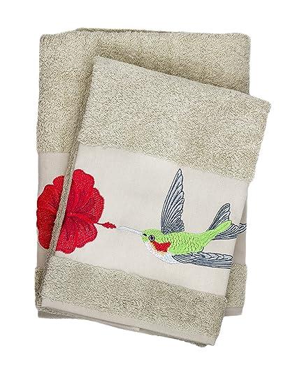 Lujo colibrí bordado de baño y toalla de mano 100% algodón baño Set & regalo