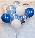 """HomyBasic Confetti Balloons 12"""" Lalex Blue SET 40.  Ribbon + Blow Helper. Top Quality balloon for toddler boy party, baby shower, Decoration, Supply (Blue, SkyBlue, White, Multi-color Confetti)"""