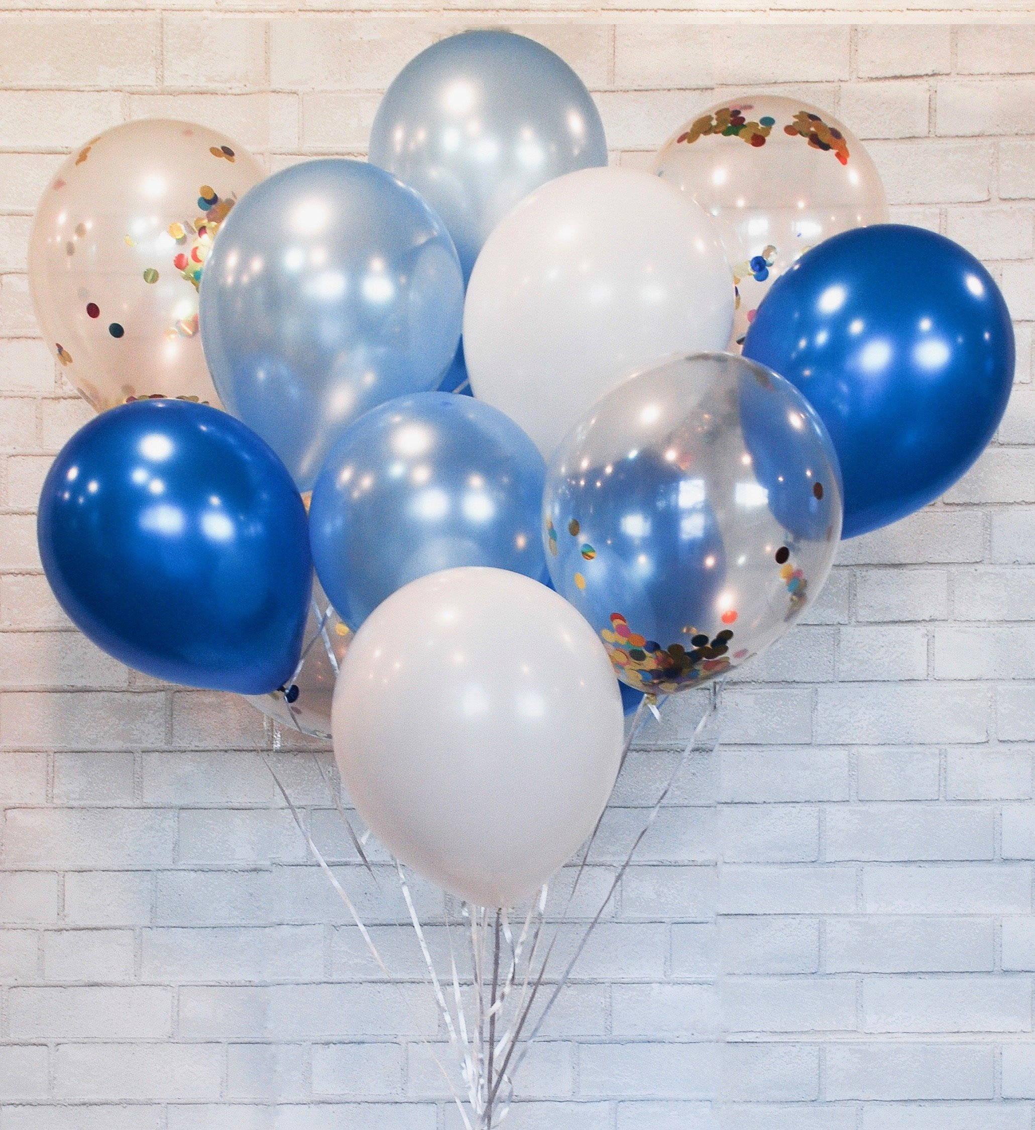 HomyBasic Confetti Balloons 12'' Lalex Blue SET 40.  Ribbon + Blow Helper. Top Quality balloon for toddler boy party, baby shower, Decoration, Supply (Blue, SkyBlue, White, Multi-color Confetti)