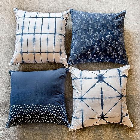 with multi color bule designs. 2 pc set of standard size vintage pillow casse