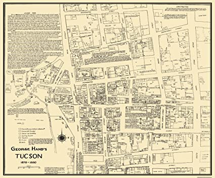 Amazon.com: Old City Map - Tucson Arizona Landowner - 1870 - 27.75 x ...