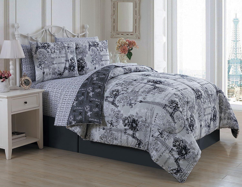 Avondale Manor Amour 8-Piece Comforter Set, Queen, Black/White