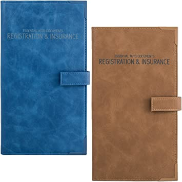 Brown Auto Insurance /& Registration Card Holder Car Essential Paperwork Holder for DMV AAA Vehicle Glove Box Document Organizer Contact Information Cards Premium PU Leather Wallet Case