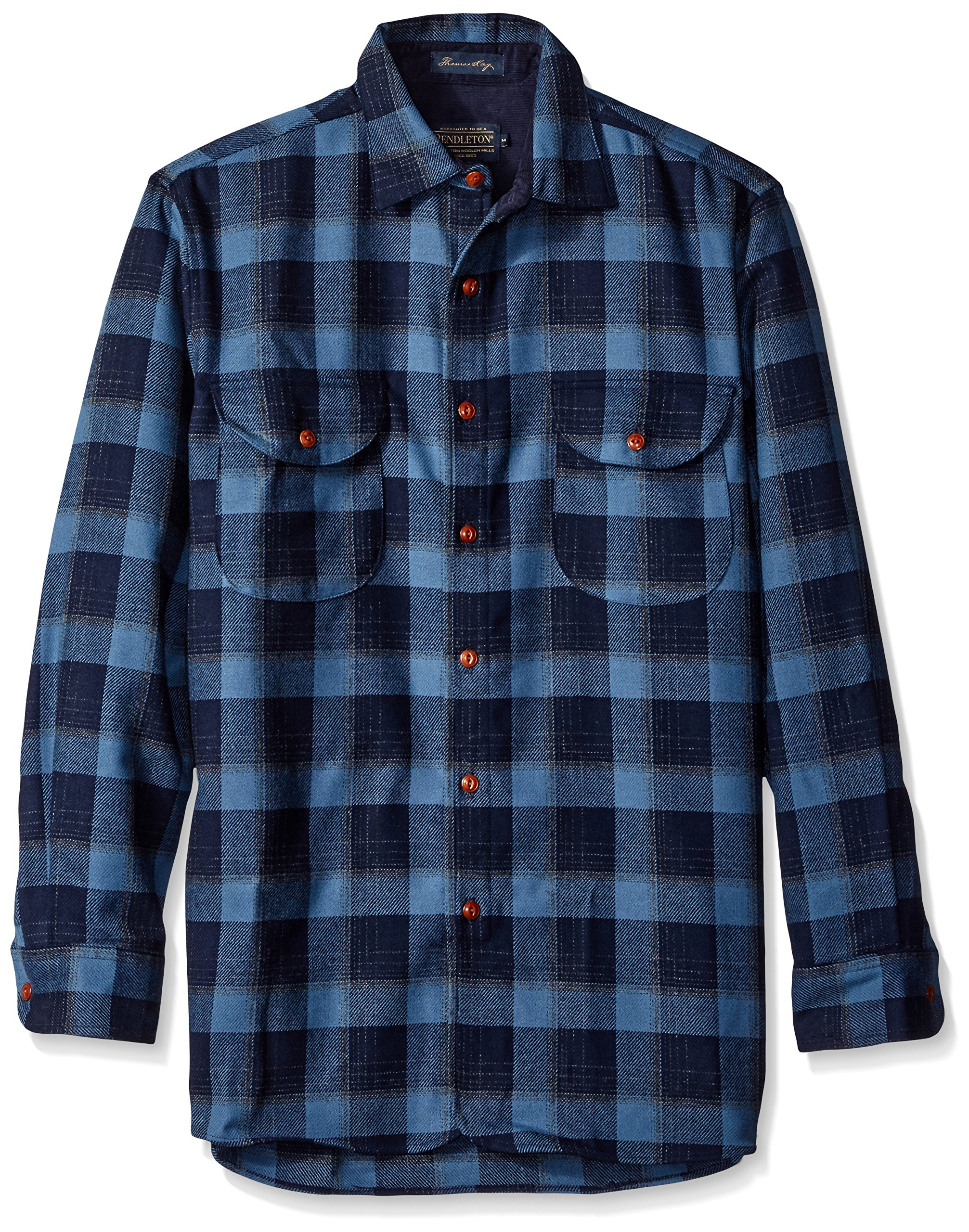 Pendleton Men's Long Sleeve Fitted Buckley Shirt, Navy/Blue Plaid-31837, XXL