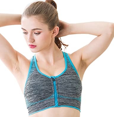 2060ee82058ce NiGHT LiONS TECH Sports Bras for Women Racerback Wireless Seamless Front  Close Yoga Gym Workout Bra with Zipper at Amazon Women s Clothing store