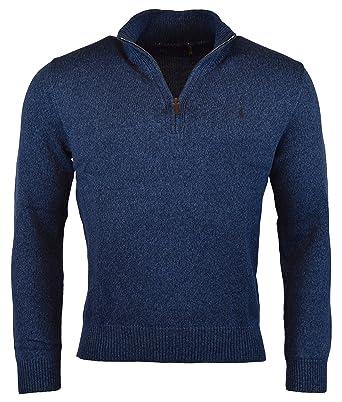 Polo Ralph Lauren Men's Half Zip Mockneck Sweater, M, Blue