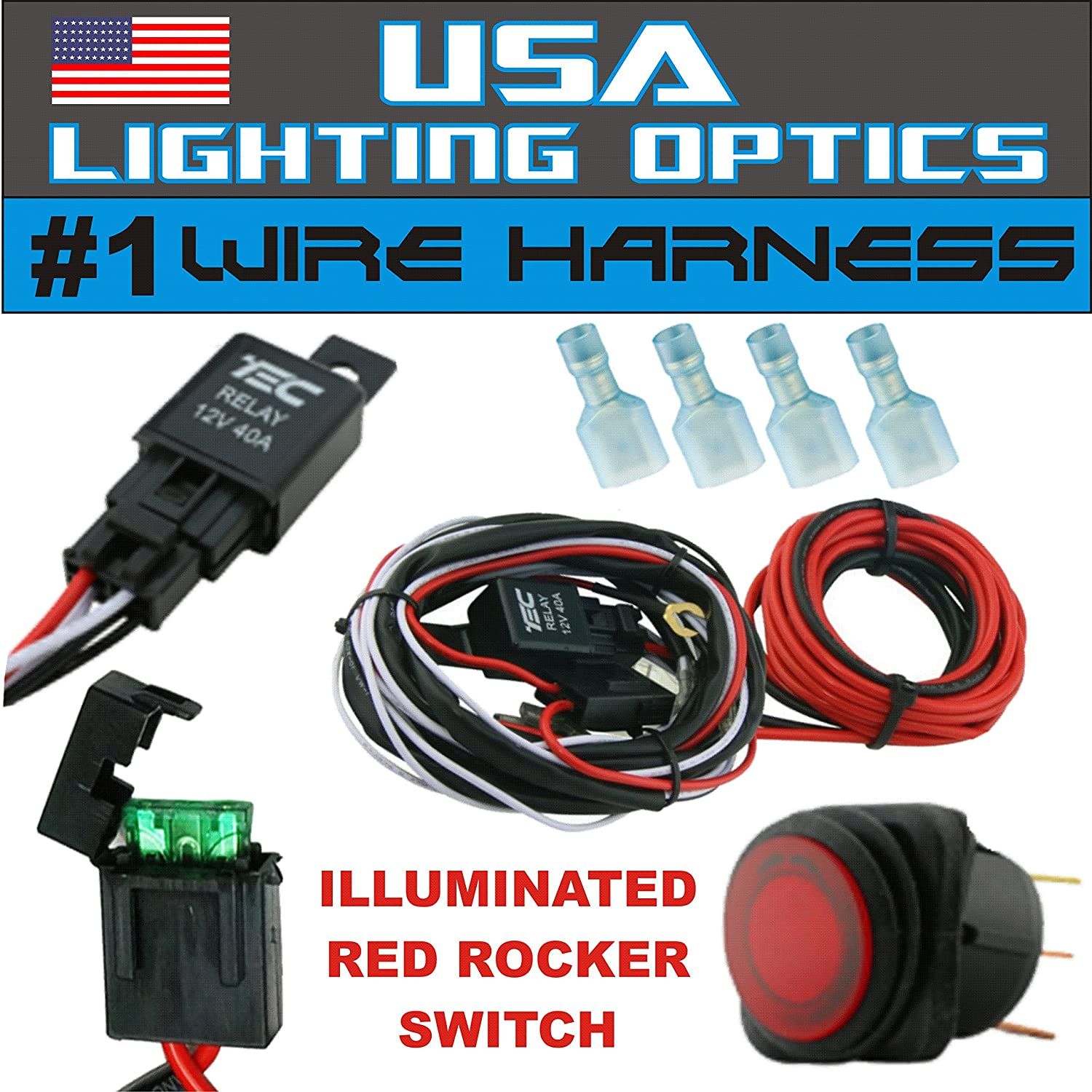 A1dMKlBH4WL._SL1500_ amazon com 1 40 amp universal wiring harness for off road led cyclops light bar wiring harness kit at readyjetset.co