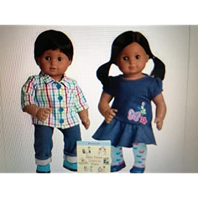 "American Girl Bitty Twins Boy and Girl with ""Bitty Twins Learn to Share"" book - Medium Skin, Brown Hair: Toys & Games"