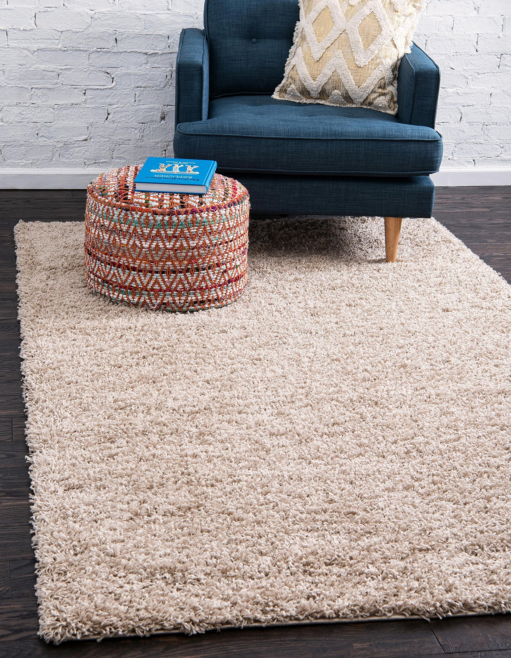 Unique Loom Solo Solid Shag Collection Modern Plush Taupe Area Rug (6' 0 x 9' 0)