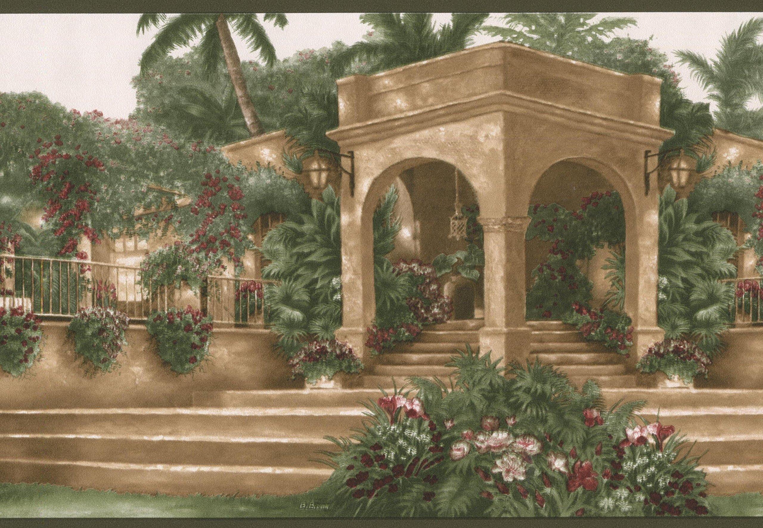 Mediterranean Palm Trees Flowers Villa Vintage Wallpaper Border Retro Design, Roll 15' x 7''