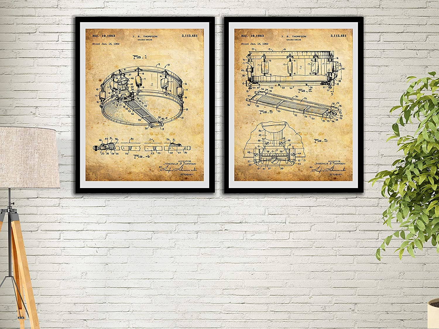 Amazon Snare Drum Patent Art Prints Vintage Set Home Decor Music Wall Print Dyna Sonic Hanging Handmade