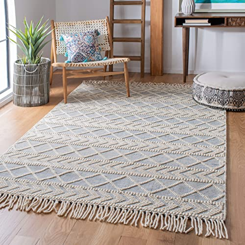 Safavieh Natura Collection NAT358M Handmade Moroccan Boho Fringe Wool Area Rug - a good cheap living room rug