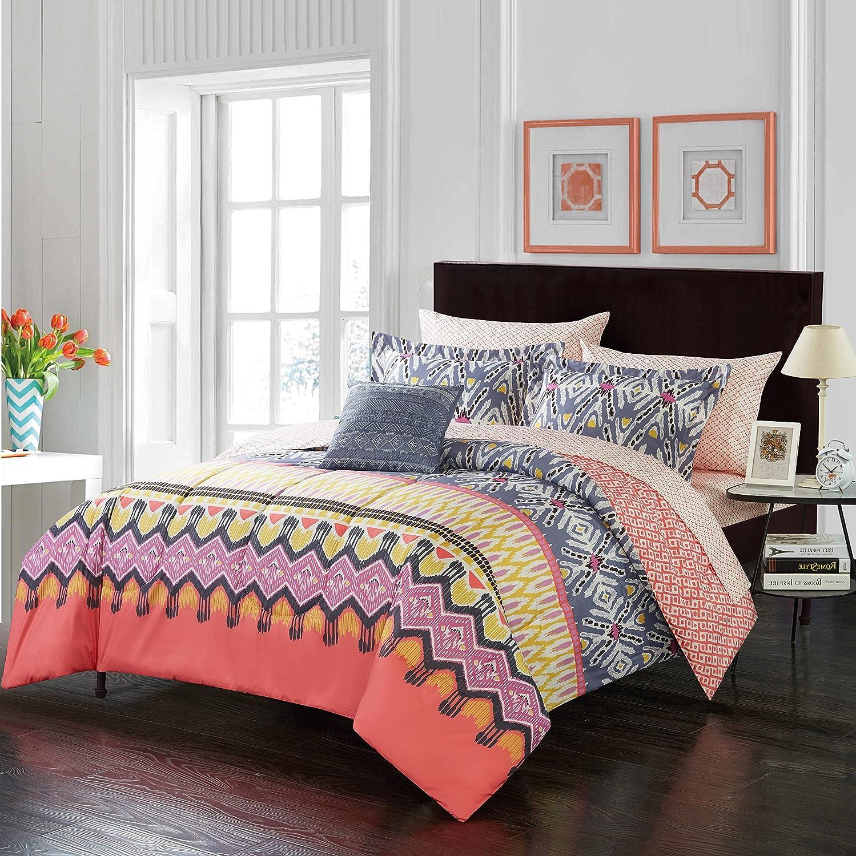 5 Piece Kids Girls Coral Boho Kamali Comforter Full Set, Grey Tribal Pattern Bedding Yellow Ikat Bed In Bag Bohemian Themed Aztec Geometric Ethnic Print Diamond Shape Stripe Colorful Trendy Polyester