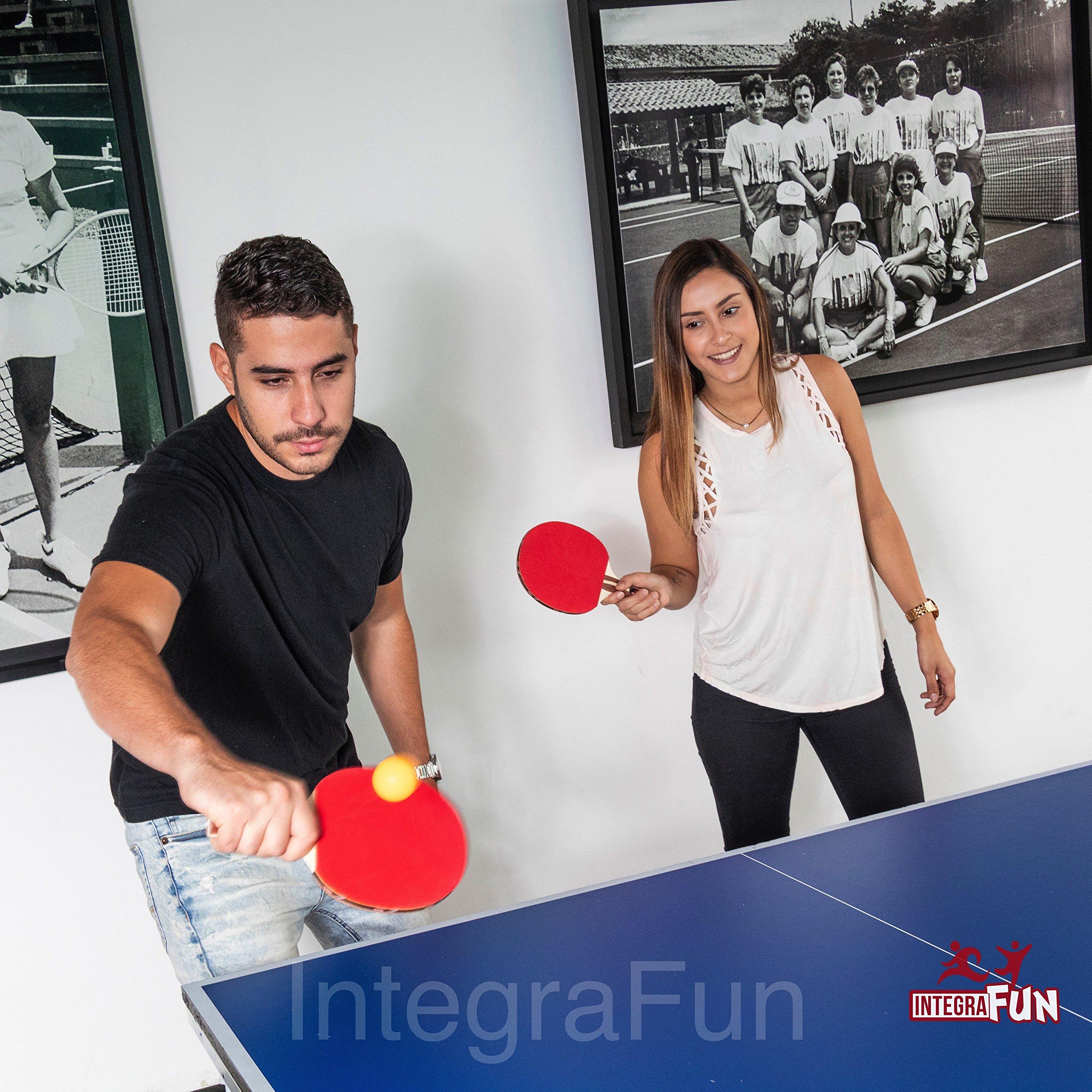IntegraFun Ping Pong Paddle - 4 Player Table Tennis Racket Set - Eight 3-Star Balls - Ergonomic Grip - Paddle Case - Training Bat - Family Table Tennis - Portable Ping Pong Pack.